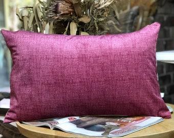 Raspberry Pink Velvet Lumbar Cushion with brass zip and luxe linen back 35x55cm