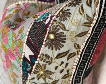 Patchwork pillow made from Indian tapestry and Greek key trim