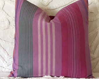 Pink striped pillow cover, velvet pillow, pink green cushion, muted jewel tones, raspberry pink cushion, pink stripey cushion, casual decor