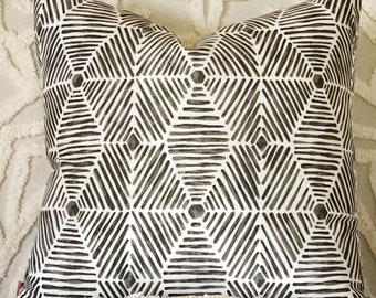 grey tribal pillow cover, reversible cushion cover, pink and grey cushion, blush grey pillow, modern boho interiors, grey geometric cushion