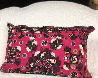 Pink Rajahstani lumbar cushion