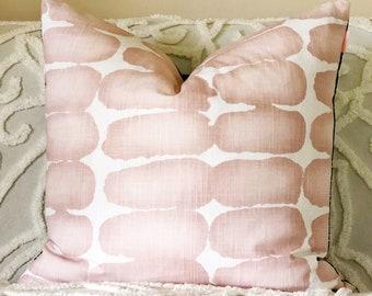 Blush cushion cover, blush Euro pillow, blush navy pillow, pink and navy cushion, reversible cushion cover, pink decor, Ikat pillow