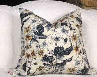 Blue and gold tropical linen cushion cover