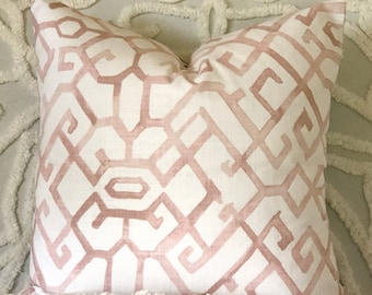 Moroccan style blush cushion cover, pink and white pillow, pink and grey cushion, reversible cushion cover, blush grey pillow, modern boho