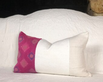 Chinese wedding blanket and African mudcloth pillow