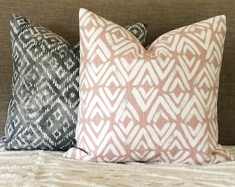 Reversible blush and grey tribal pillow cover, pink cushion, grey pillow, blush cushion cover, pretty tribal pillow, blush pillow, blush