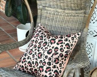 Peachy Pink Leopard Print Cushion