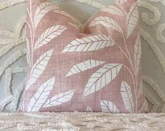 Dusty pink botanical cushion cover, pink botanical pillow, tropical cushion, pretty pillow, blush pillow, linen pillow, blush cushion, leaf