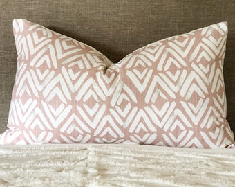 Big lumbar pillow covet, blush cushion, long pink pillow, blush tribal cushion, linen pillow cover, blush homewares, modern boho pillow,