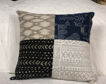 Tribal patchwork cushion, navy, black and white