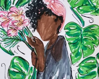 Monstera plant art, Afro Caribbean painting, Print of black girl with flower, Black artwork, plant lover gift, mothers day gift from son