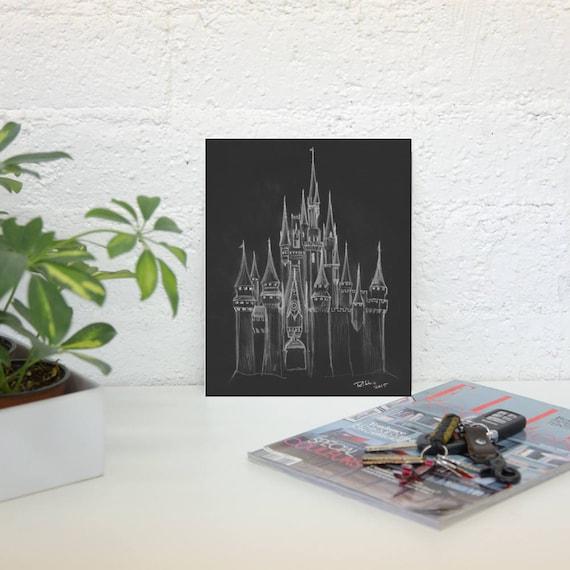 Disney Cendrillon Chateau 8 X 10 Blanc Sur Fond Noir Chateau Etsy