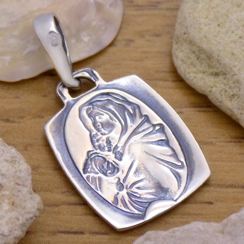 Classic Solid 925 Sterling Silver Saint Virgin Mary Icon Pendant Wonderful Oxidized Handmade Handcrafted Beautiful Incredible Design