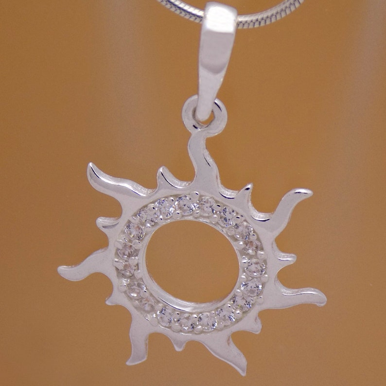 Marvelous Solid Sterling Silver White Cubic Zirconia CZ Sun Pendant 925 Hallmark Impressive Gently Charming Beautiful Lovely Design