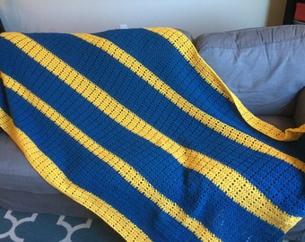 Teal and Yellow Striped Afghan