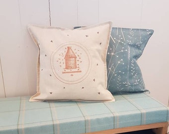 Little Bees and Bee Hive Cushion/Pillow Cover, 100% Linen - Nordic Decor - Scandi Decor - Hygge Home