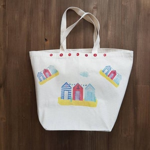 Gift Bag Beach Huts Large Tote Bag in 100/% Unbleached Cotton with Button Details Unique Gift Beach Bag Shopper