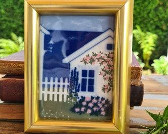 Norwegian Hytte (Cabin) Vintage Framed Porcelain Art Tile by Anne Marie Odegaard, Porsgrund Handverks Studio
