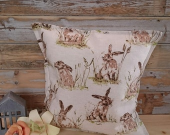 Vintage French Decor Style Cushion/Pillow Cover with Gorgeous Hares sitting in grass - Loneta Fabric - Nordic Decor - Hygge Home