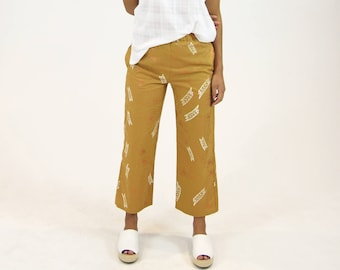 High Waisted Linen Trousers. Women's Cropped Lounge Trousers. Mustard Resort Pants.