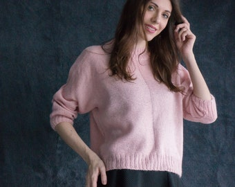 SALE warm pink sweater hand knitted Cozy