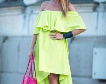 Maxi Loose Dresses, Green Flounces Dress, Women Summer Tops, Cotton Casual Dress, Off Shoulder Dress, Plus Size Loose Dress - DR0213CT