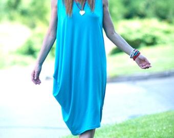 Maxi Dress, Oversize Dress, Aqua Blue Dress, Loose Shirt, Summer Dress, Womens Dresses, Plus Size Dress, Summer Dress by EUG - DR0232TR