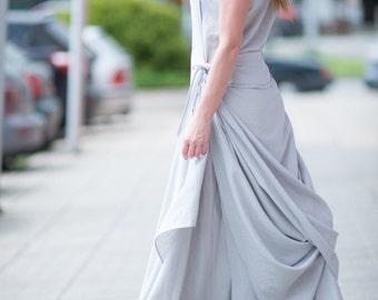 Grey Linen Dress, Summer Sleeveless Dress, Plus Size Long Dress, Two Parts Dress, Evening Dress Women, Party Dress - DR0246LE