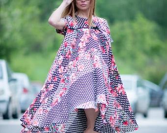 Maxi Dress, Party Dress, Summer Dress, Satin Maxi Dress, Women Flower Dress, Short Sleeve Dress, Plus Size Loose Dress BY EUG - DR0183CH
