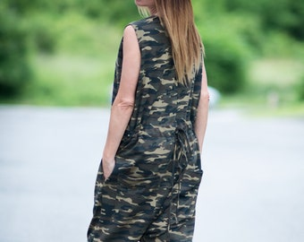 1410daa160e0a Camo clothes women, Urban camouflage casual Jumpsuit, Women romper, Drop  Crotch jumpsuit, Plus Size Overall, Military Jumpsuit - JP0356W2