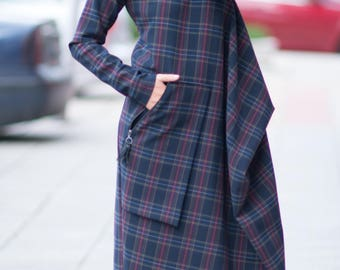 Long women dress, Women Maxi Dress, Long Plaid Dress, Long Sleeves Dress, Oversize Dress by Eug Fashion - DR0118PM