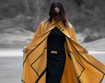 Winter Coat Women, Cashmere Wool Coat, Winter Coat, Plus Size Clothing, Long Coat, Mustard Coat, Asymmetric Coat, Cape Coat CT0033CA