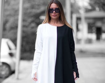 Black and White Maxi Dress, Woman Plus Size Dress, Long Dress for Women, Casual Dress, Long Winter Dress by EUG fashion - DR0159PM