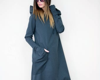 Grey maxi dress, Long dress, Women Winter dress, Dark grey hooded dress, Plus size dress, Cotton Kaftan by EUG FASHION - DR0076Ct