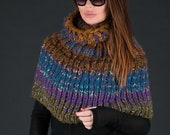 Poncho, Scarves for women, Blue Large weaving Turtleneck scarf, Long Wool Scarf, Handmade Oversized Scarf - SK0292CKW
