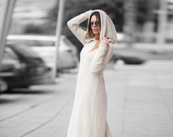 Winter Warm Long Dress, Maxi Dress with pocket, Hooded Dress, Plus Size Clothing, Hoodie Dress, Winter Dress, Boho Dress DR0148CK