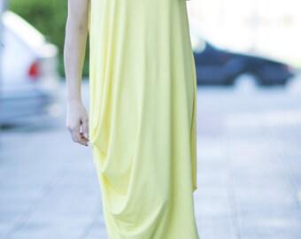 Maxi Dress, Yellow Dress Women, Asymmetric Summer Dress, Everyday Cotton Maxi, Women Dress, Oversize Dress, Loose Dress - DR0232TR