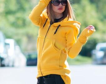 Yellow Hooded Zipper Sports Jacket, Yellow Hooded Sweatshirt With Big Pockets by EUGFashion - TP0710W3