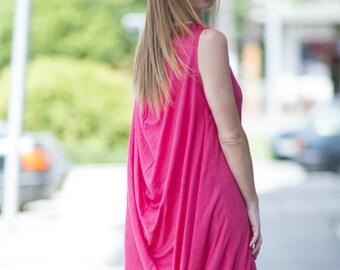 Maxi Dress, Pink & White Kaftan, Off Shoulder Dress, Women Sleeveless Dress, Summer Long Dress, Everyday Dress, Ladies Dress - DR0268CK