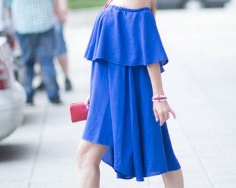 Blue Maxi Top, Summer Cotton Dress, Ladies Casual Dress, Plus Size Clothing, Flounces Dress, Off Shoulder Dress, Women Dress - DR0234CV