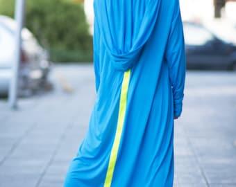 Women Cotton Casual Dress, Loose Maxi Dress, Hooded Maxi Dress, Women's Casual Dress, Long Dress - DR0235TR
