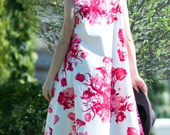 Cotton Maxi Dress, Loose Summer Dress, Plus Size Maxi, Evening Dress, Women Party Dress, White Flower Dress, Sleeveless Dress - DR0196CT