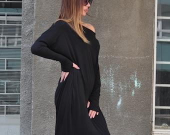 Womens Dresses/Long Sleeve Dress/Off Shoulder Dress/Cotton Dress with Tumbhole/Bare Back Dress/Black Dress/Elegant Dress/ DR0307TR
