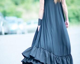 Summer Long Maxi Dress, Black Maxi Dress, Women's Day Wear Clothing, Plus Size Black Dress, Sleeveless Cotton Loose Black Dress - DR0184TRCO
