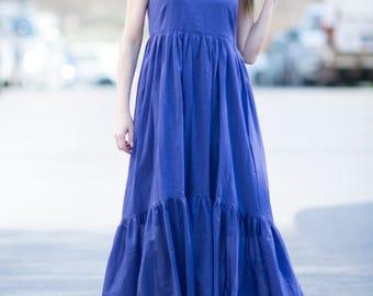 Cotton Blue Flounces Dresses for Womens, Summer Dress, Blue Dress, Long Dress, Loose Dress, Sleeveless Dress, Party Dress - DR0204CT