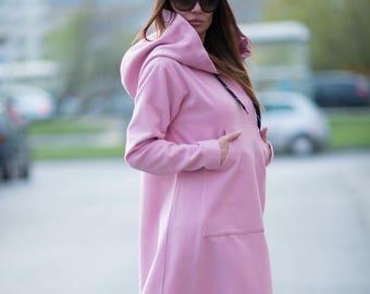 Maxi dress, Long dress, Winter dress, Baby Pink dress, Plus size dress, Long Hooded Dress, Kaftan, Cashmere dress by EUG FASHION - DR0135Ca