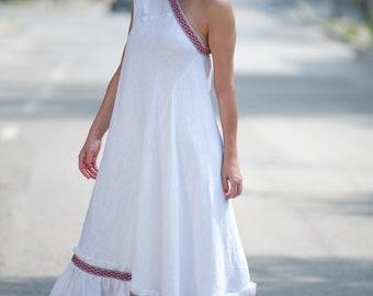 f1f4c1827b8 White Linen Dress for Woman