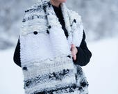 Scarves for women, White Large weaving scarf, Knit Scarf, Long Wool Scarf, Handmade Oversized Scarf, Merino scarf - SC0870CKW