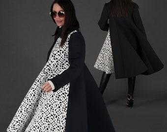 Women Black Coat Neoprene Coat Kimono
