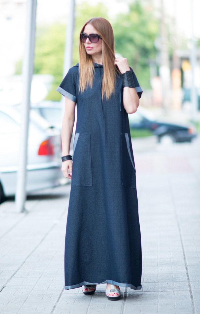 af6e0c1261 Clothing Urban casual Navy blue Denim cotton dress Long